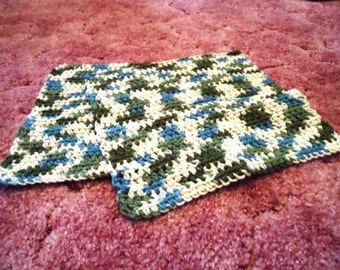 RTS- Set of 2 Large Crocheted Dishcloths Washcloths 100% Cotton EcoFriendly Reusable Kitchen gift Farm Forest green white Christmas Woodland
