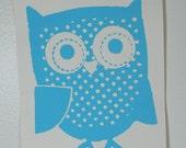 Blue owl screen printed card