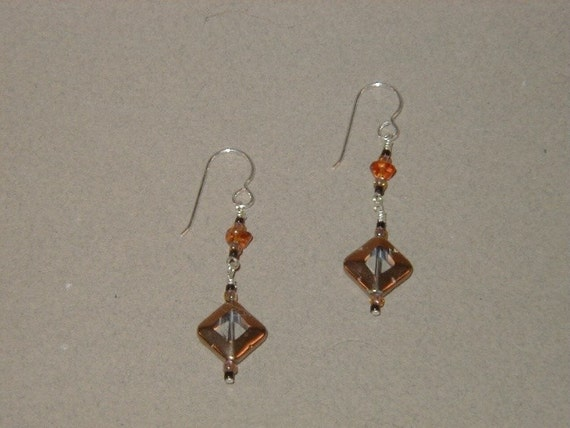 Amber and  Glass Earrings