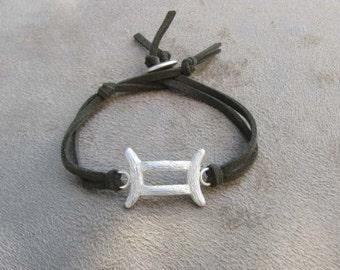GEMINI - Silver and Leather Zodiac Bracelet
