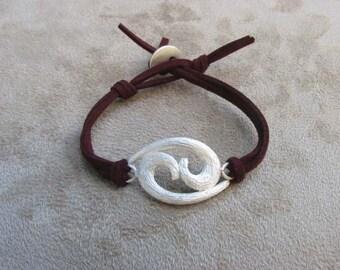CANCER - Silver and Leather Zodiac Bracelet