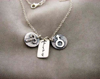 ARIES Sign with Element FIRE and Ruling Planet MARS. Silver Necklace