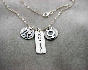 VIRGO Sign with Element EARTH and Ruling Planet MERCURY. Silver Necklace