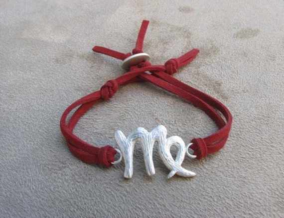 VIRGO - Silver and Leather Zodiac Bracelet