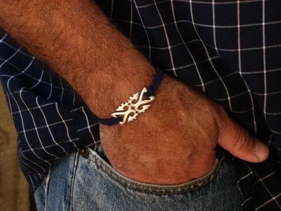 Cool Bracelet - Men's Silver and Leather Bracelet -