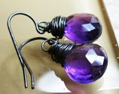 Genuine amethyst tear drop antiqued sterling silver ear wires