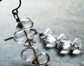 Clear mini tear drop antiqued sterling silver bar earrings