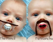 Hand Cut Custom Pacifier Mustaches with Pacifier