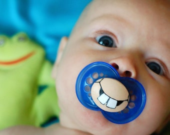 Cute Buck Teeth Custom Hand Painted Pacifier by PiquantDesigns