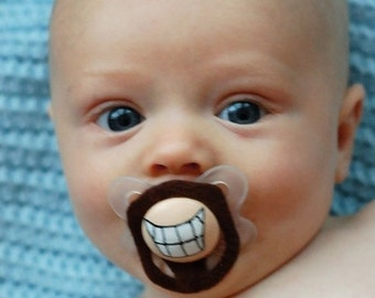 The Goatee Custom Hand Painted & Hand Cut Brown Mustache Pacifier
