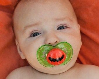 Halloween Jagged Jack Custom Hand Painted Pacifier by PiquantDesigns