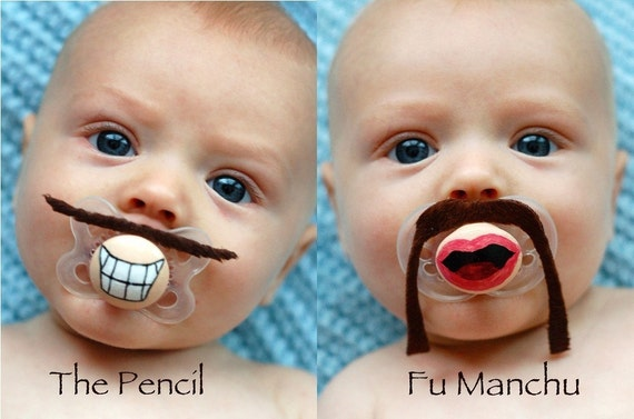 Custom Hand Painted & Hand Cut in Your Choice of Brown, Black or Blonde Mustache Pacifiers by PiquantDesigns