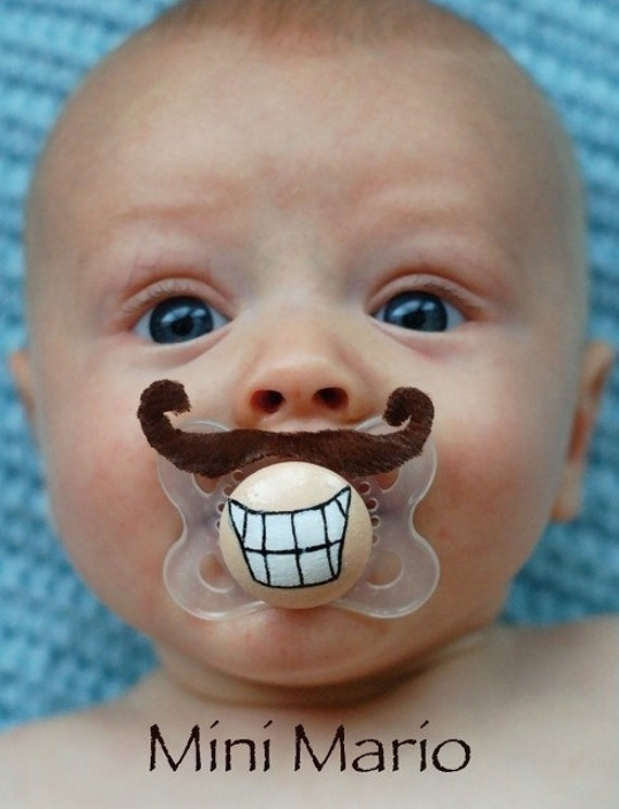 Mini Mario Custom Hand Painted & Hand Cut Brown Mustache Pacifier by PiquantDesigns