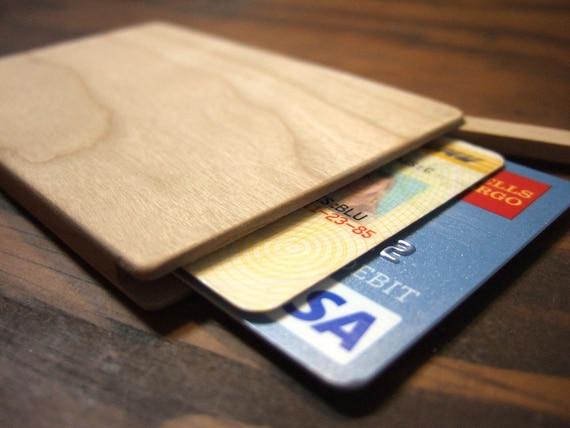 wood wallet. slim.