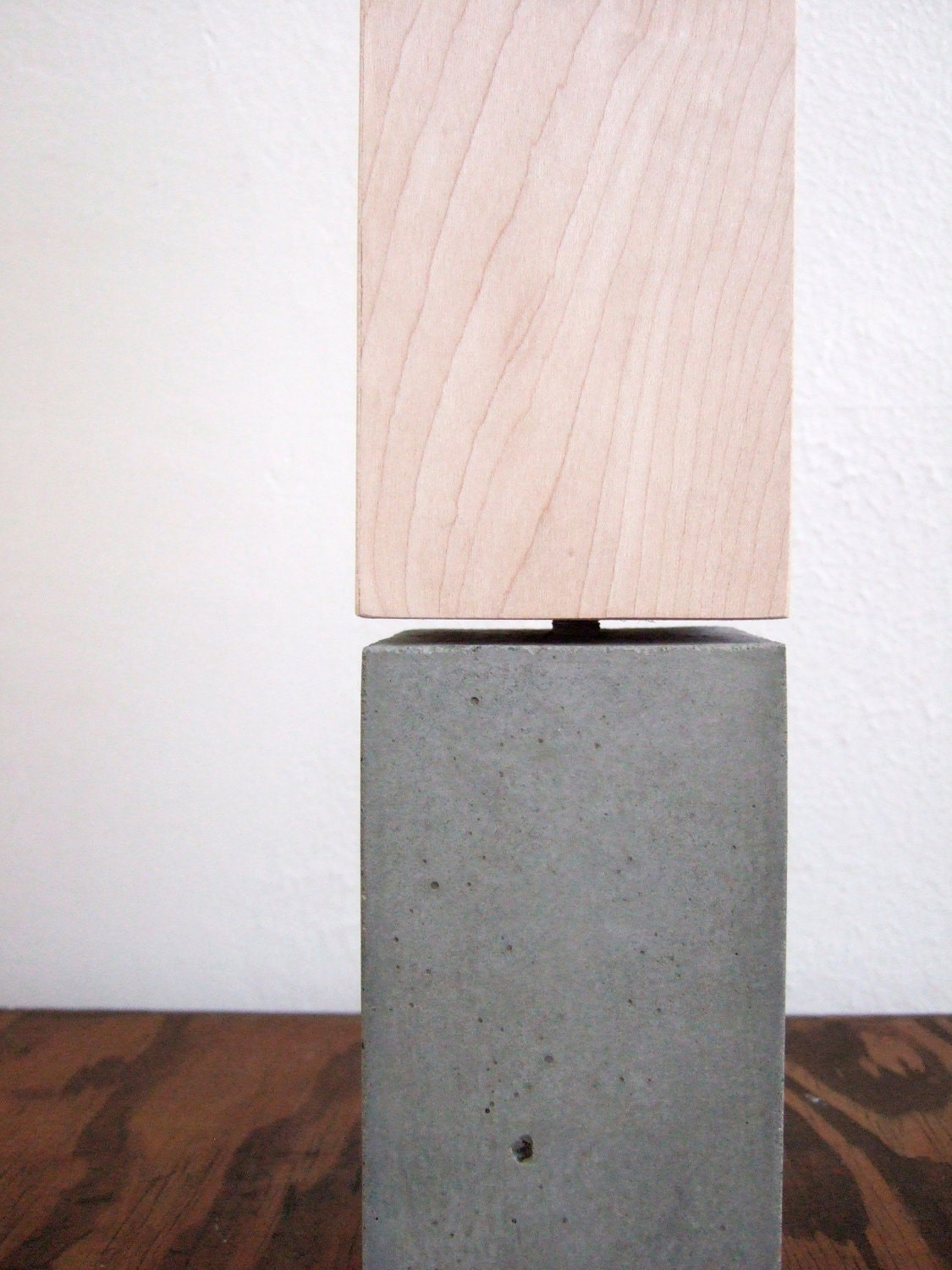 petite concrete table lamp. with wood veneer lampshade.