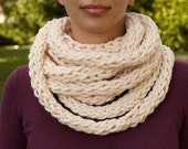 Cream Circle Scarf - FINISHED ITEM