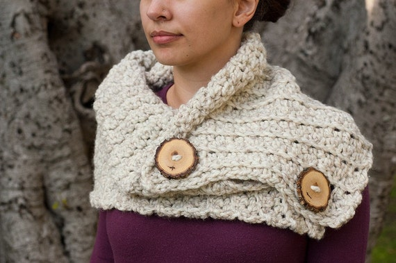 Holiday Sale - Free Shipping - Two Wood Button Cowl
