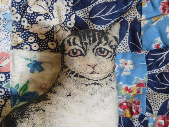 The Toy Works Inc Small Grey Tabby Cat Doll Pillow Victorian Style Folk Art Stuffie Stuffed Animal