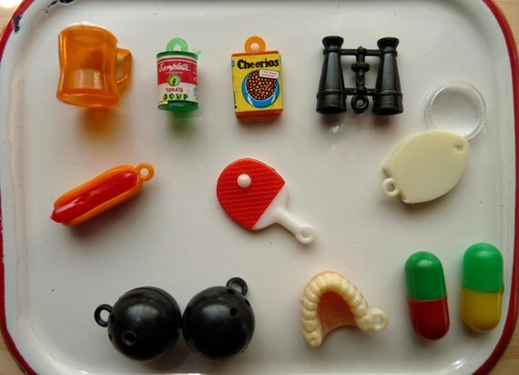Ten Plastic Kitsch Charms and Mexican Jumping Beans Magnetic Dentures Hotdog Beer Binoculars Bowling Ball Ping Pong