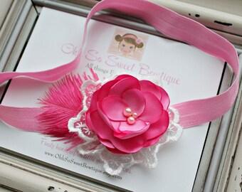 Beautiful Petite Pink Satin Flower Headband - Vintage Inspired Headband - Great Photo Prop