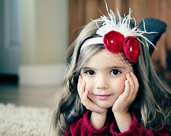 Adorable Red Headband - Red Flower Headband - Beautiful Red Vintage Inspired Flower Headband - Great Photo Prop
