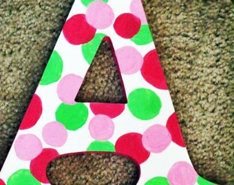 Pink and Green Polka Dot Letters