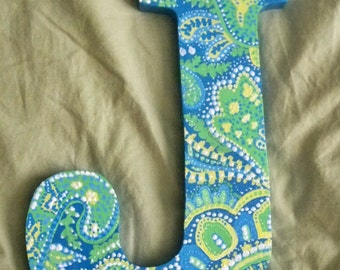 Green, Blue and Yellow Paisley Letters