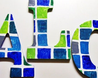 Blue and Green Square Letters