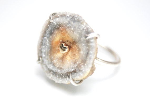 RESERVED for D- final payment- chalcedony drusy rosette ring, sterling silver and 14k. gold heart- Warms My Soul