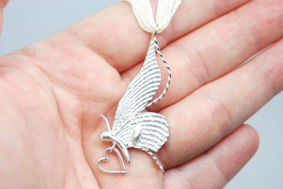 Take Your Love With Me- sterling silver butterfly pendant with heart