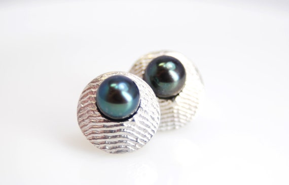 freshwater pearl earrings with sterling silver cuttlefish casting surround- made to order