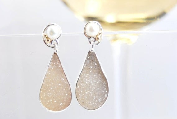 Drusy and pearl earrings in silver and 14k gold- Champagne Kiss