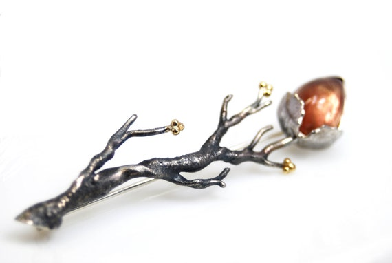 sunstone branch brooch in sterling silver and 18k. gold- OOAK-  Promises of the Sun
