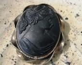 Vintage black onyx mourning cameo
