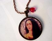 Reseved Frida Kahlo Copper Pendant, Red Swarovski Crystal & Copper Chain Necklace