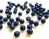 Woodstock Retro: 6mm Navy Blue Czech Druk Beads