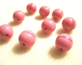 10mm Pink Glossy Czech Druk Beads