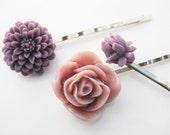 Plum Purple Mauve Flower Bobby Pin Set