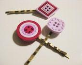 Fuchsia and Lavender Button Bobby Pin Set B-5