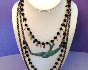 Patina Swallow Vintage Layer Necklace and Earrings