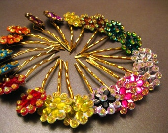 Sequined Flower Bobby Pins