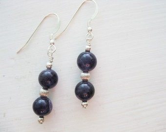 Amethyst and Sterling Silver Dangle Earrings
