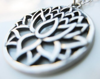 Silver Lotus Pendant and Chain Necklace