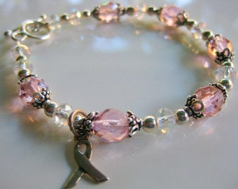 Swarovski and Sterling Breast Cancer Awareness Bracelet