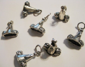 5 Megaphone and Pom Poms Cheer Sterling Silver Charms