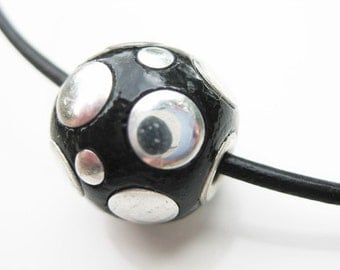Silver and Black Globe Leather Necklace