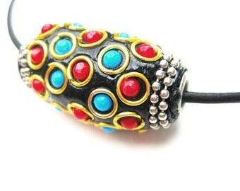 Black Leather Cord Necklace With Colorfully Studded Leather Focal Pendant