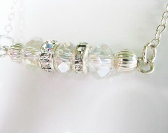 Clear AB Swarovski and Sterling Silver Necklace