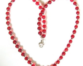 Valentines Red Czech Glass and Sterling Silver Necklace