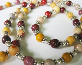 Autumn Jasper and Bali Necklace